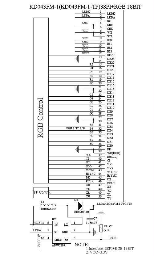 图片8:4线spi+16位rgb接口接线图